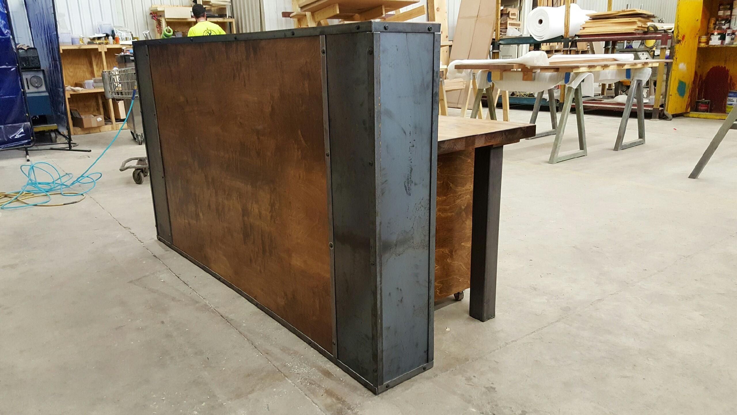 Buy A Custom Modern Industrial Reception Desk Made To