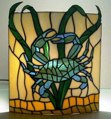 Custom Made Stained Glass Wall Sconce Crab Design