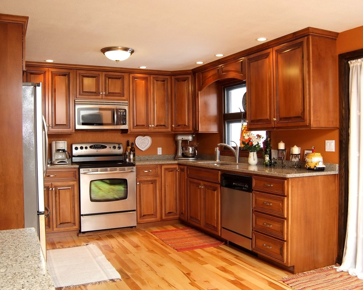 Hand made maple glazed kitchen with quartz countertops by for Kitchen cabinet wood colors
