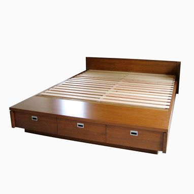 custom made platform bed with drawers
