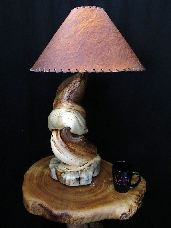 Custom Rustic Twisted Juniper Log Table Lamp Wood Home
