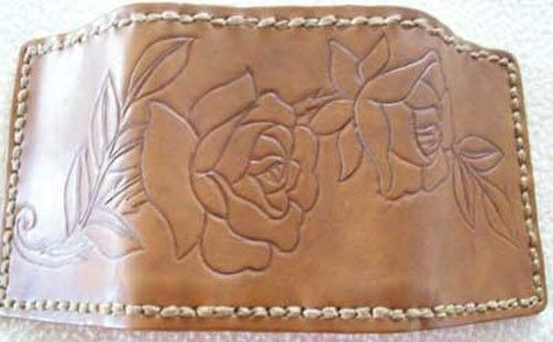 Custom Made Custom Leather Deluxe Trifold Wallet With Rose Design In Saddle Stain