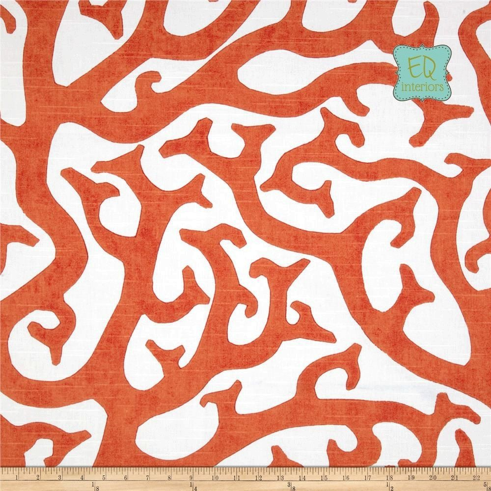 Hand Made 72l X 50w P Kaufmann Coral Reef Orange Linen Custom Curtain Panels By Elise Quinn