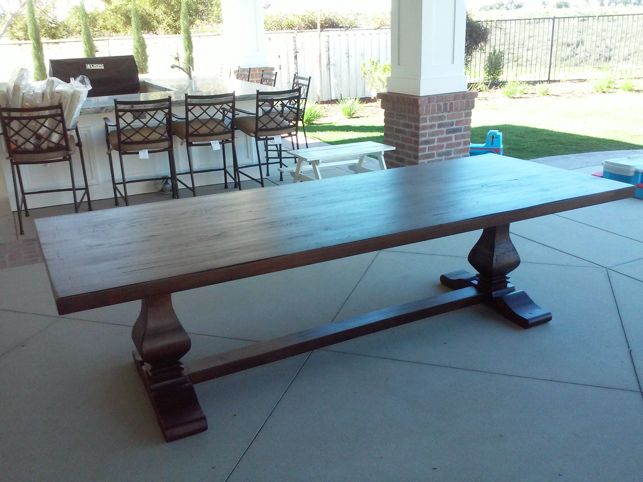 Hand Crafted Outdoor Trestle Table By Santini Custom