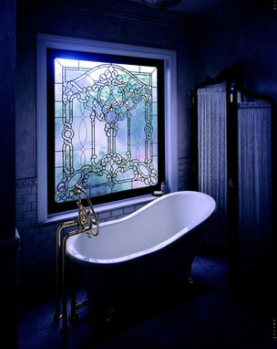 Custom Made Semi-Private Master Bath Tub Window In Leaded Beveled Glass