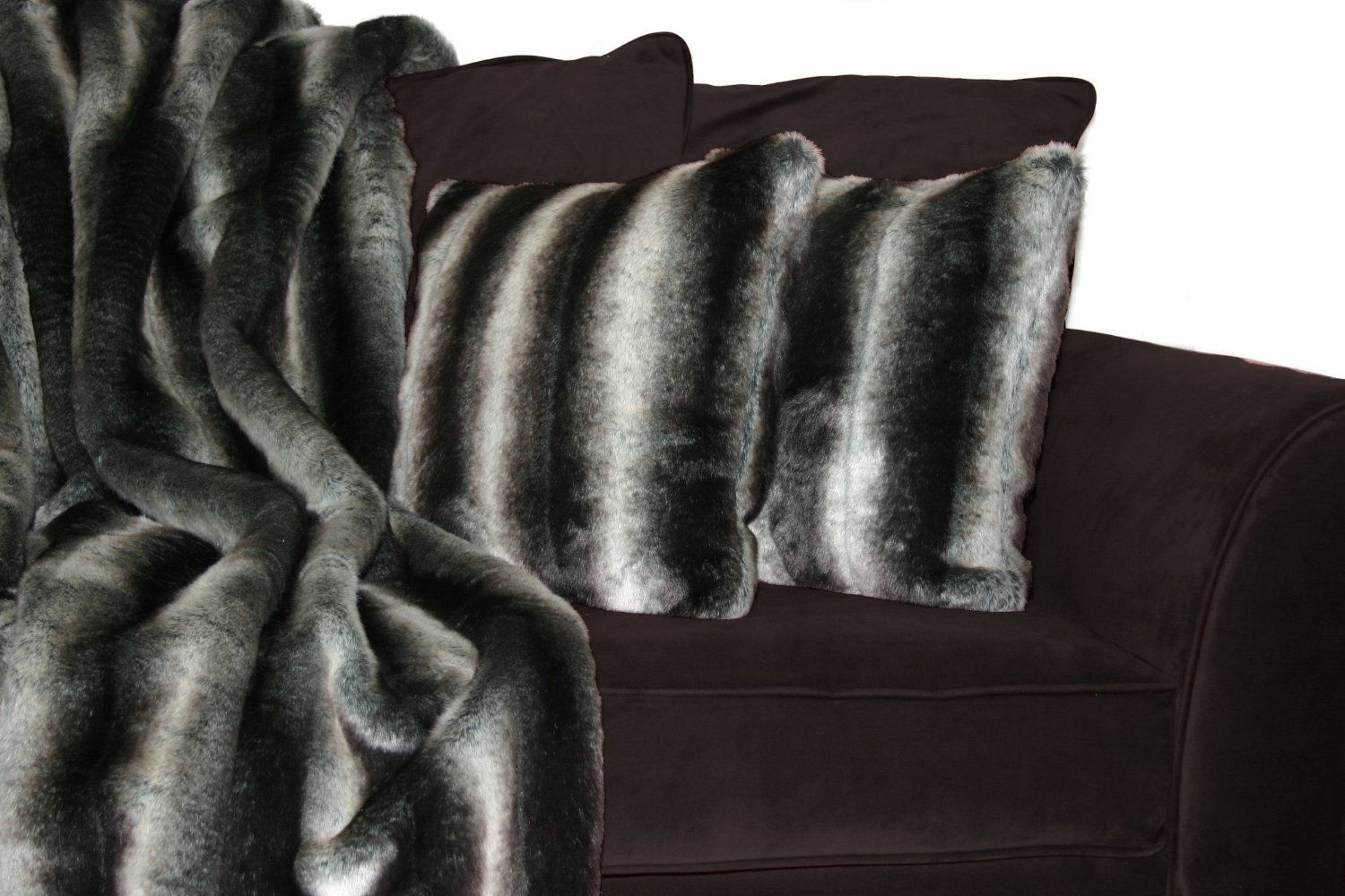 Sheared Chinchilla Silver Faux Fur Throw Blanket and Pillow Set