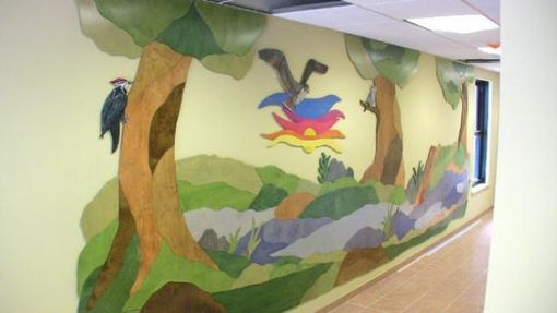 Custom Made Large Wood Cut Wall Mural