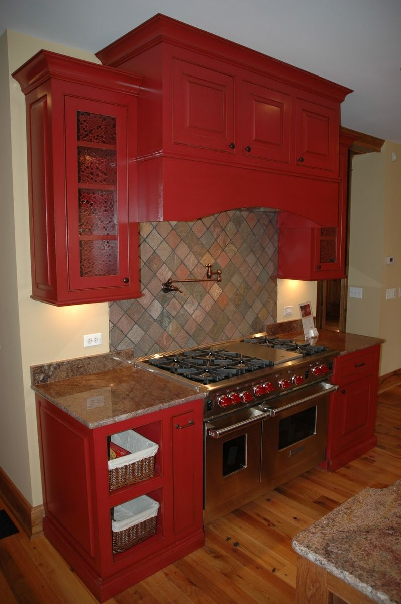 Hand Made Red Kitchen By Custom Corners Llc Custommade Com