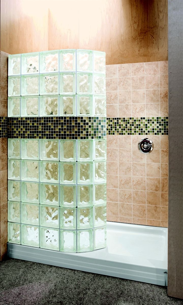 Hand made walk in glass block shower with tile border by for Bathroom designs glass walls