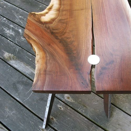 Vintage Handmade Slab Wood Coffee Table From: Custom Made Arched Steel Leg Coffee Table Shown With