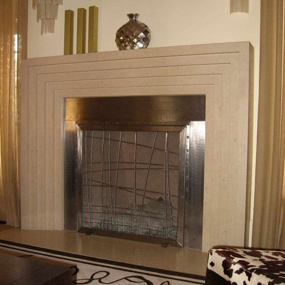 custom stainless steel fireplace screen by cranford