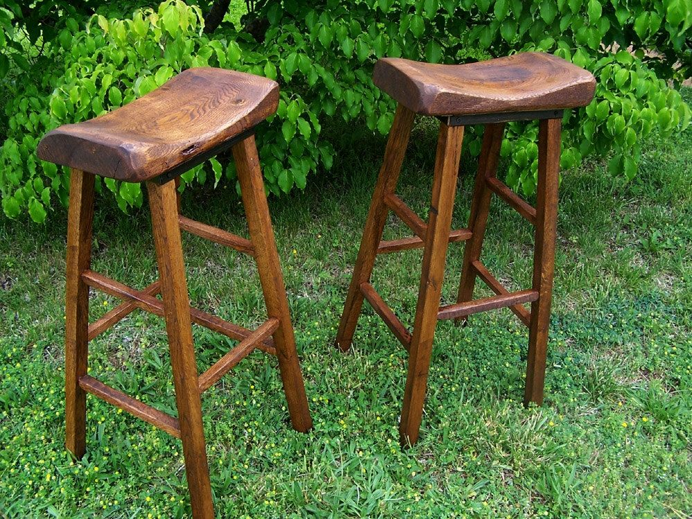 Buy Handmade Reclaimed Oak Live Edge Bar Stools Made To