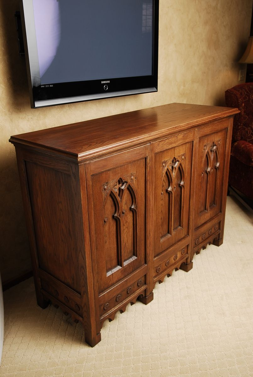 Amazing Living Room Cabinet Designs Antique Showcase Using: Custom Made Oak Cabinet With Antique Doors By Schmitt