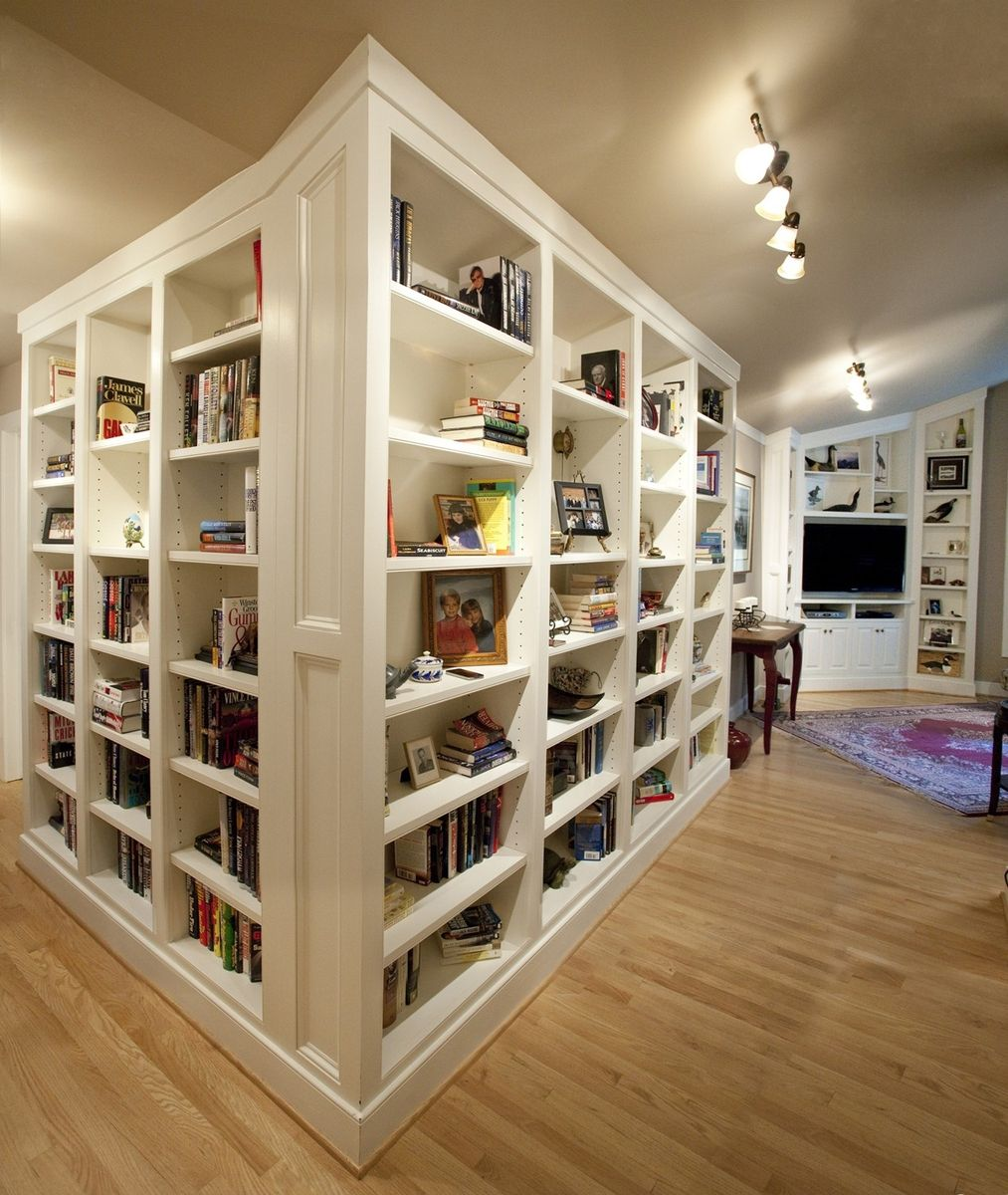 Handmade White Bookcases And Media Cabinetry By A Cut