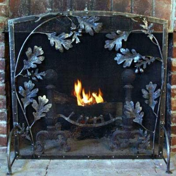 Hand Made Metal Arch Top Oak Leaf Fireplace Screen By Winnipesaukee Forge