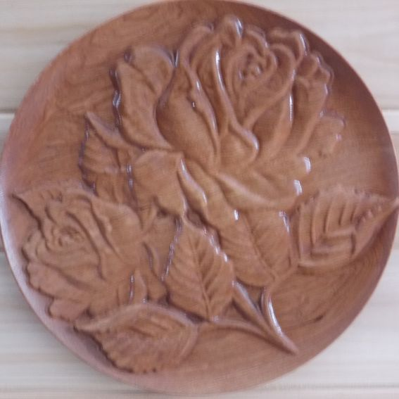 Handmade floral plate rose cherry rustic relief wood