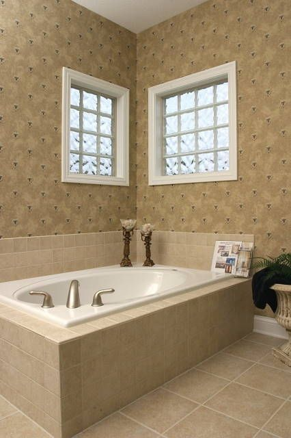 Hand Crafted Glass Block Bathroom Window With Vinyl Framed