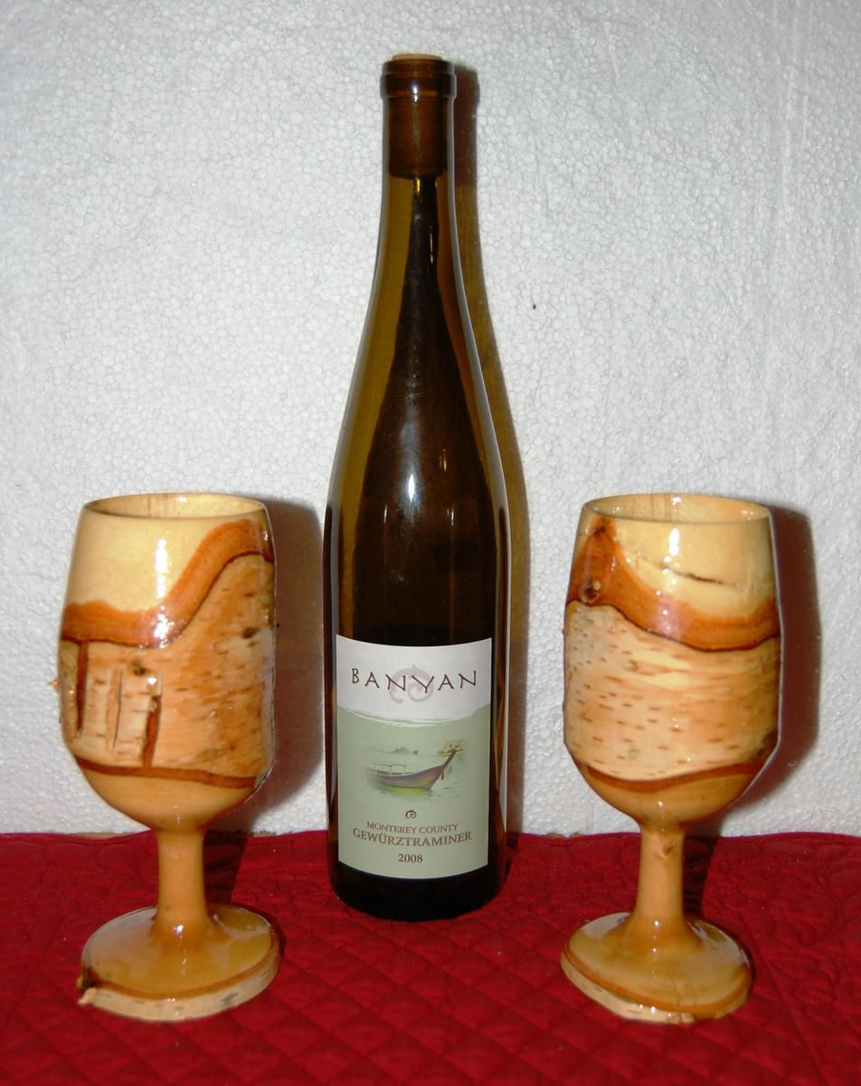 Hand made hand crafted wood wine glasses by p s country for Hand designed wine glasses