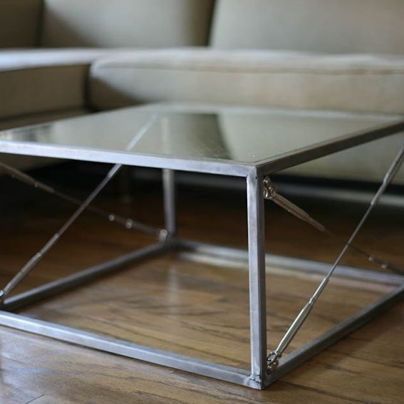 Industrial Unique Metal Designer Coffee Table: Handmade Modern Industrial Coffee/End Table, Minimalist
