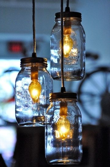 Handmade recycled mason jar chandelier pendant lamp for Hanging lights made from mason jars