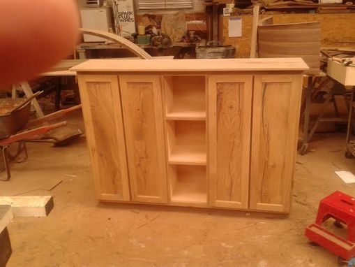 Custom Made White Oak Rustic Storage Cabinet With Display Section And Shelving Inside Behind Doors