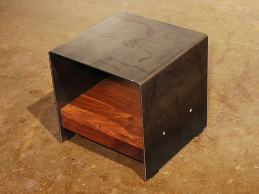 Custom Made Cubic Table - Walnut And Plate Steel