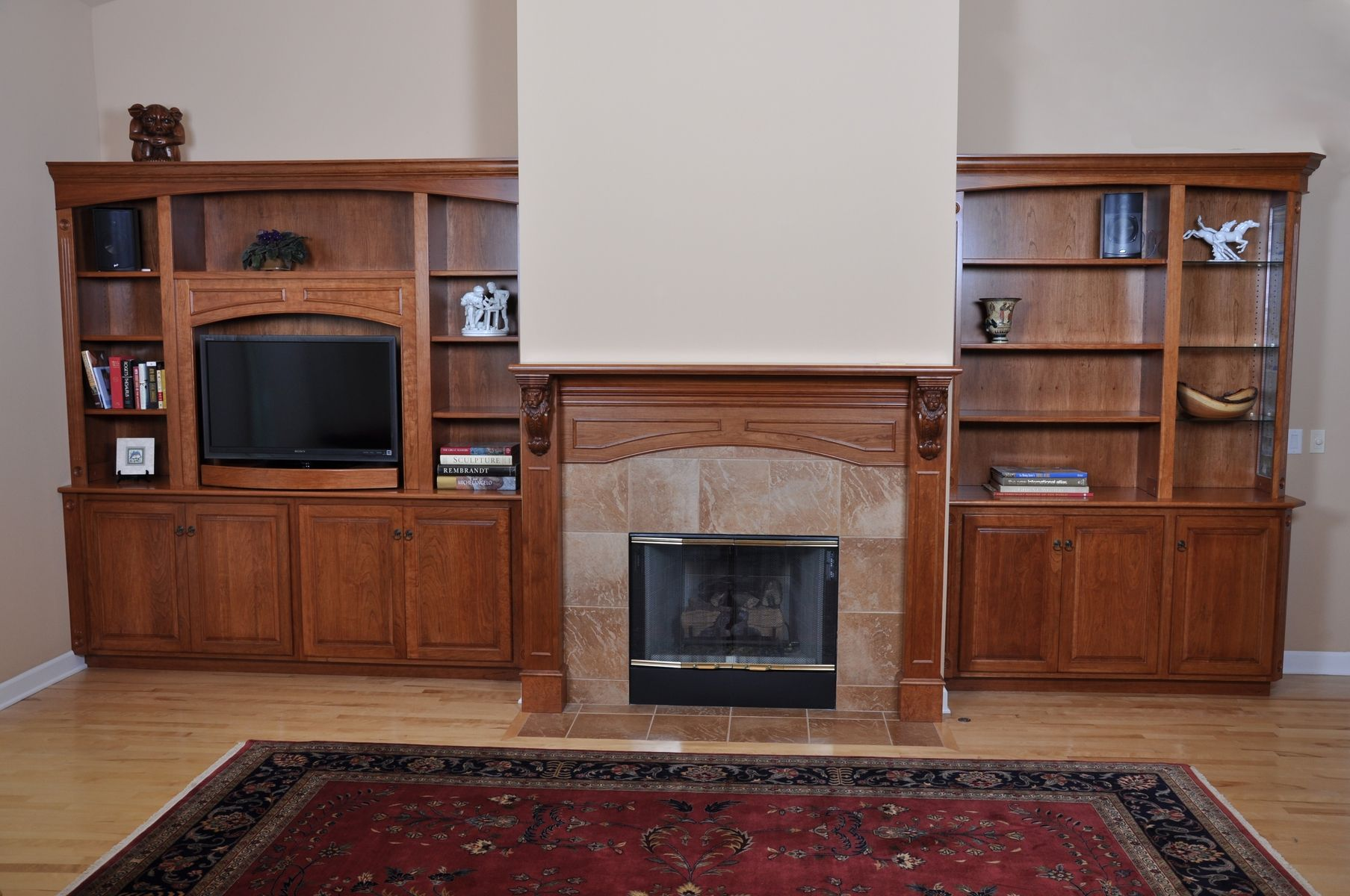 Custom Fireplace Mantel And Entertainment Center By H M Woodworks