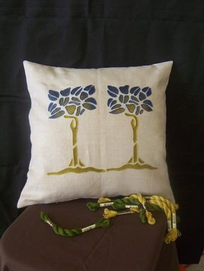 Custom Made Double Tree Pillow, Blue