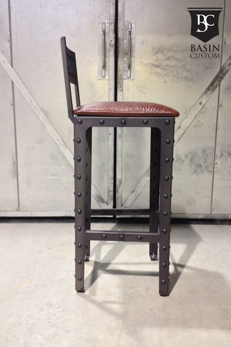 Hand Crafted Custom 30 Industrial Bar Stools With Back By