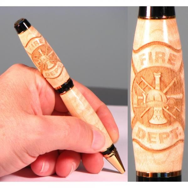 Hand Crafted Fire Fighter Laser Engraved Pen By Wooden Pen