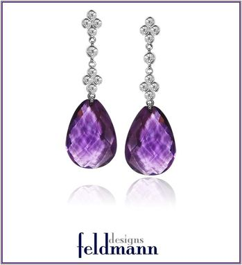 Custom Made Amethyst And Diamond Briolette Dangle Earrings