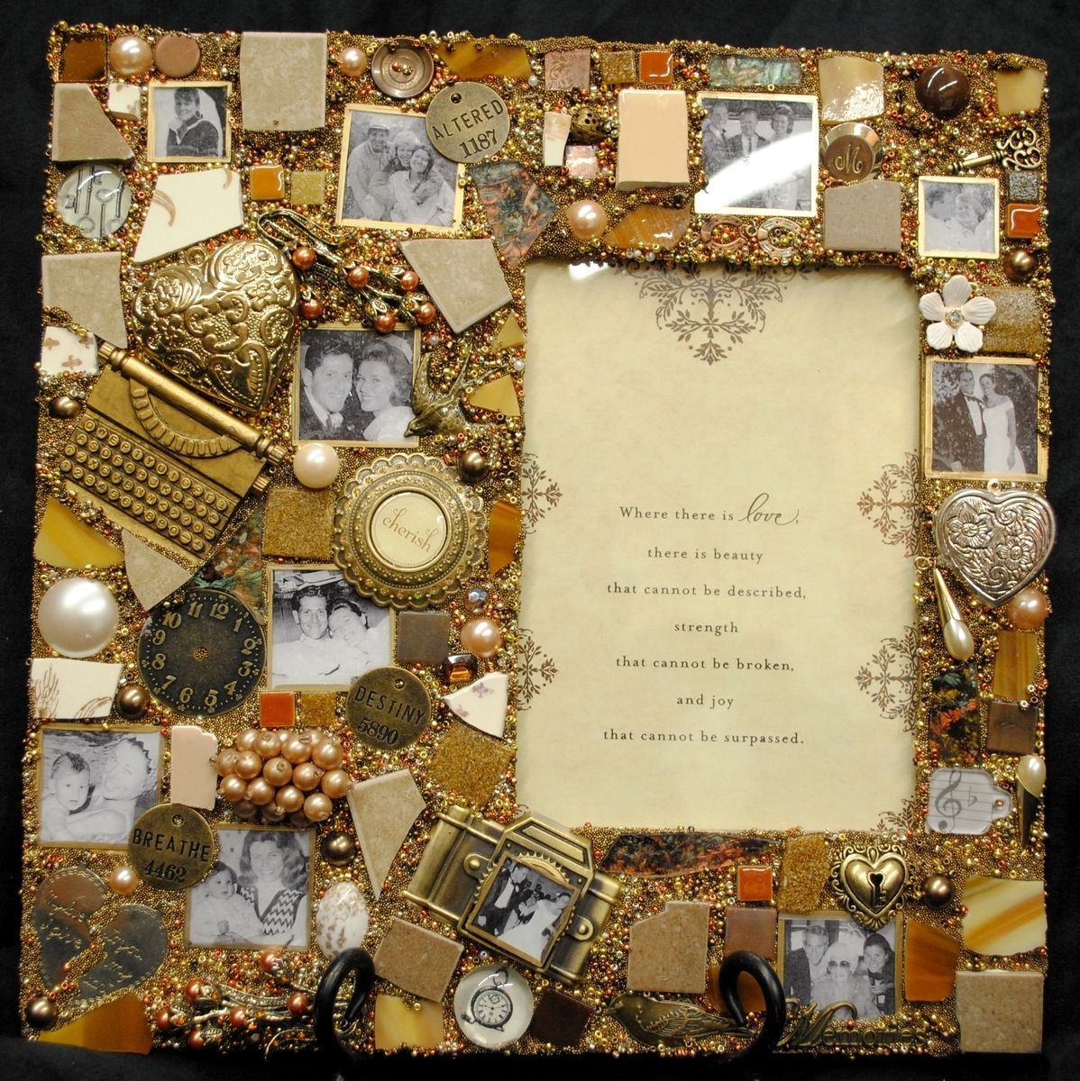 Hand Made Custom Mixed Media Mosaic Frame For 5x7 Photo By