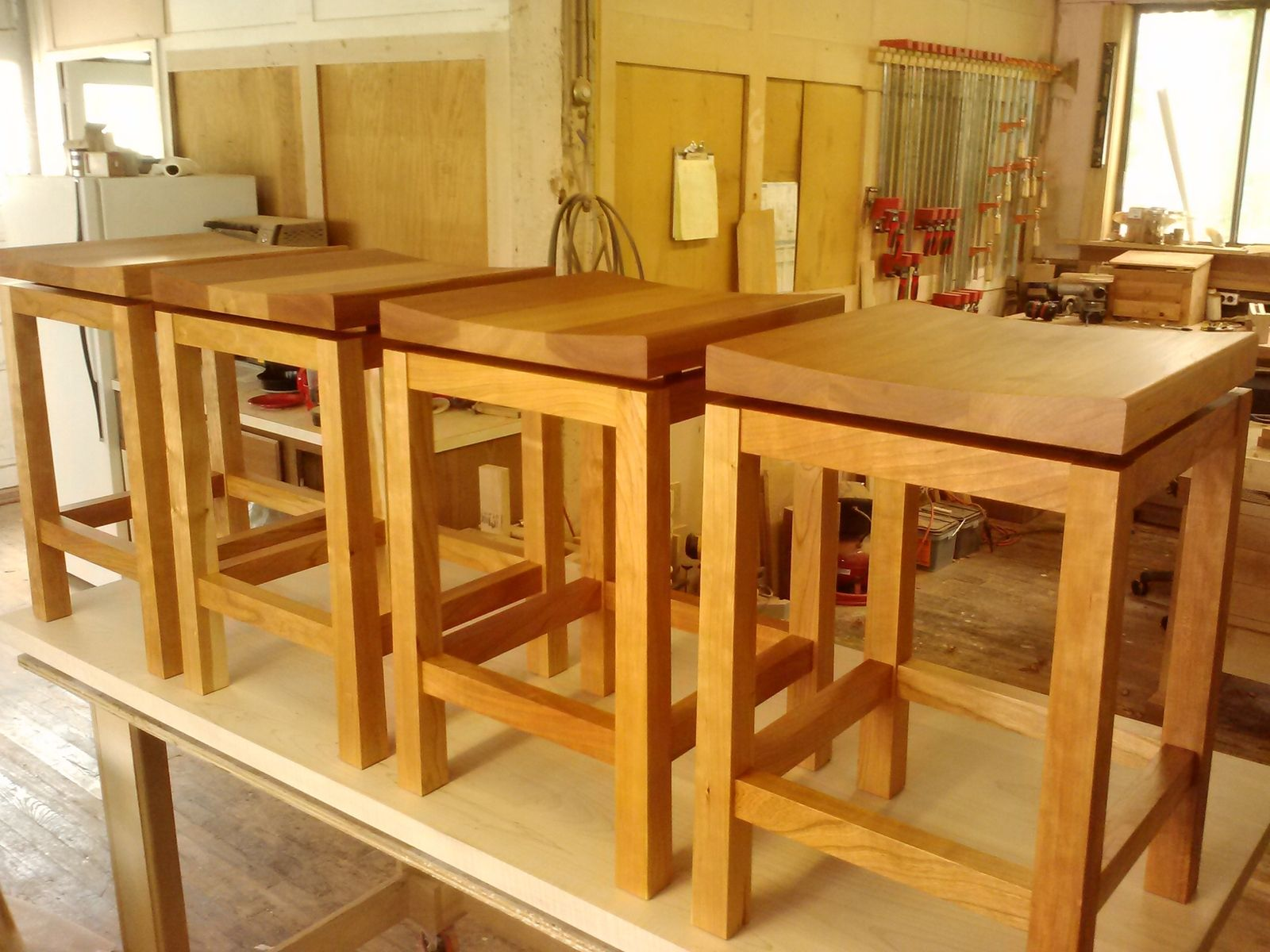 Hand crafted kitchen island height cherry bar stools by - Kitchen island with stools ...