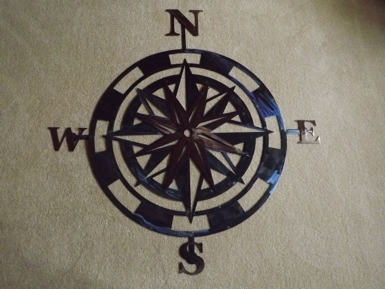 Handmade 36 Inch Metal Compass Rose Wall Art By Superior