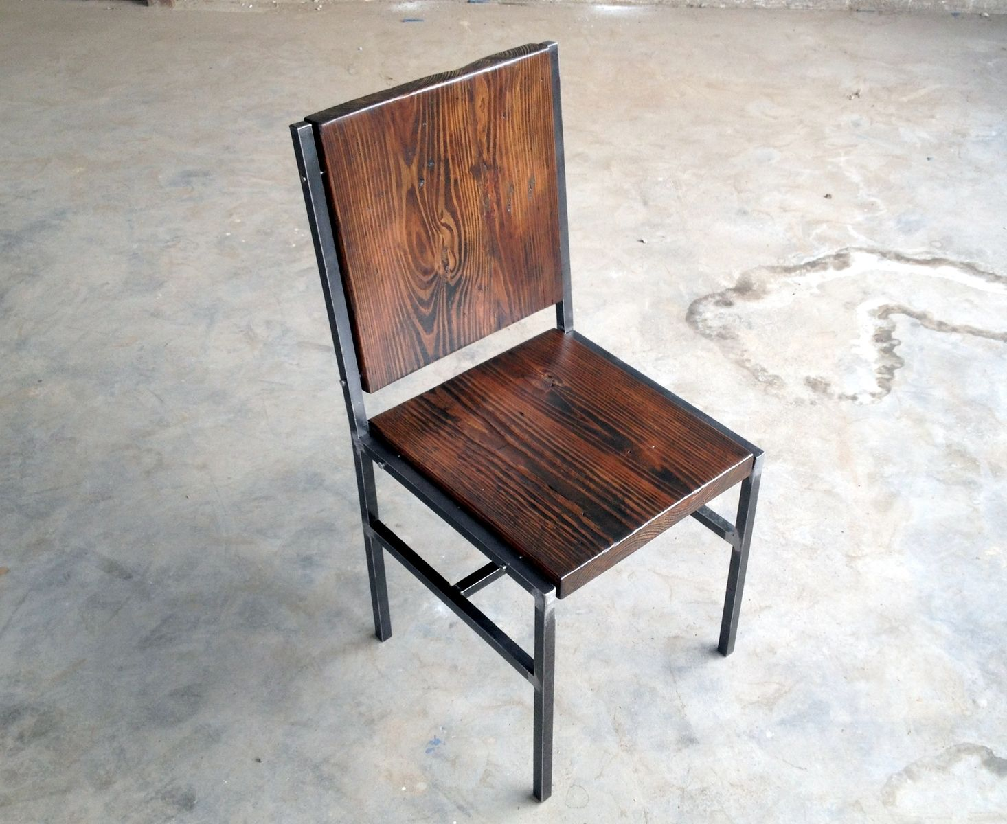 Hand crafted chair stool made of reclaimed wood and steel What are chairs made of
