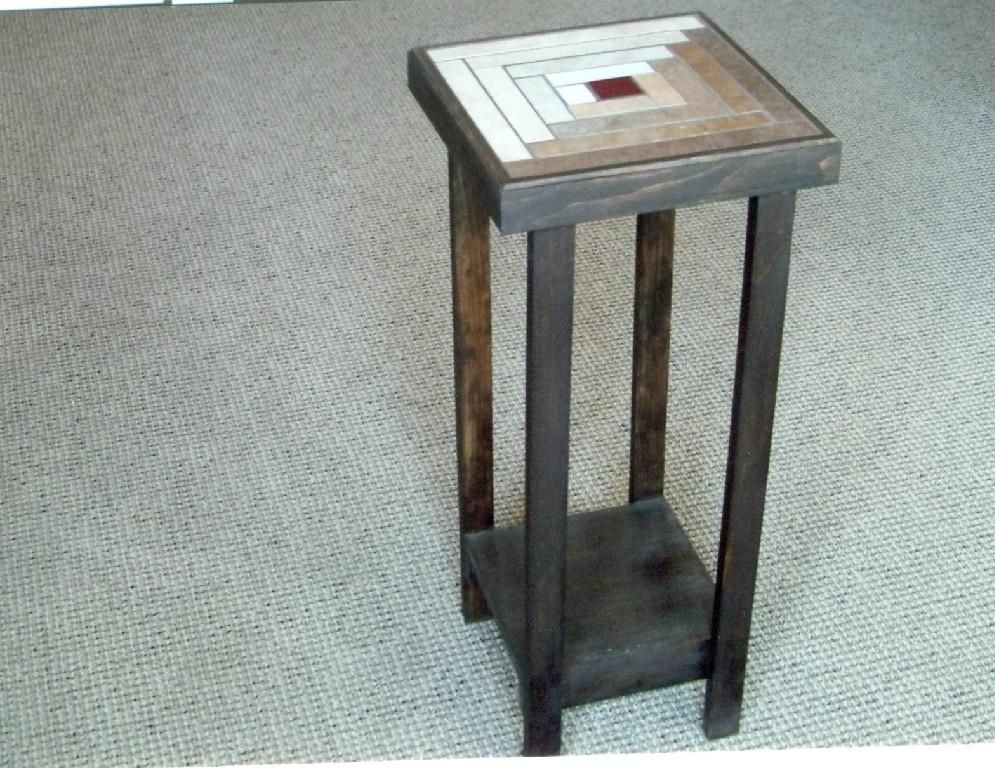 Custom Log Cabin Accent Table By Stonequilt Of Vermont