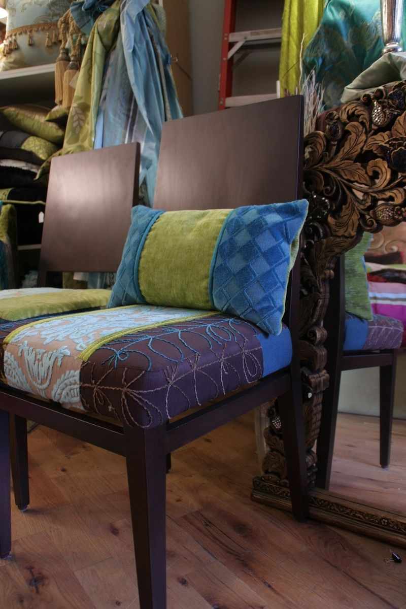 Hand made upholstered dining chairs with quilted seats for Custom dining room chair cushions