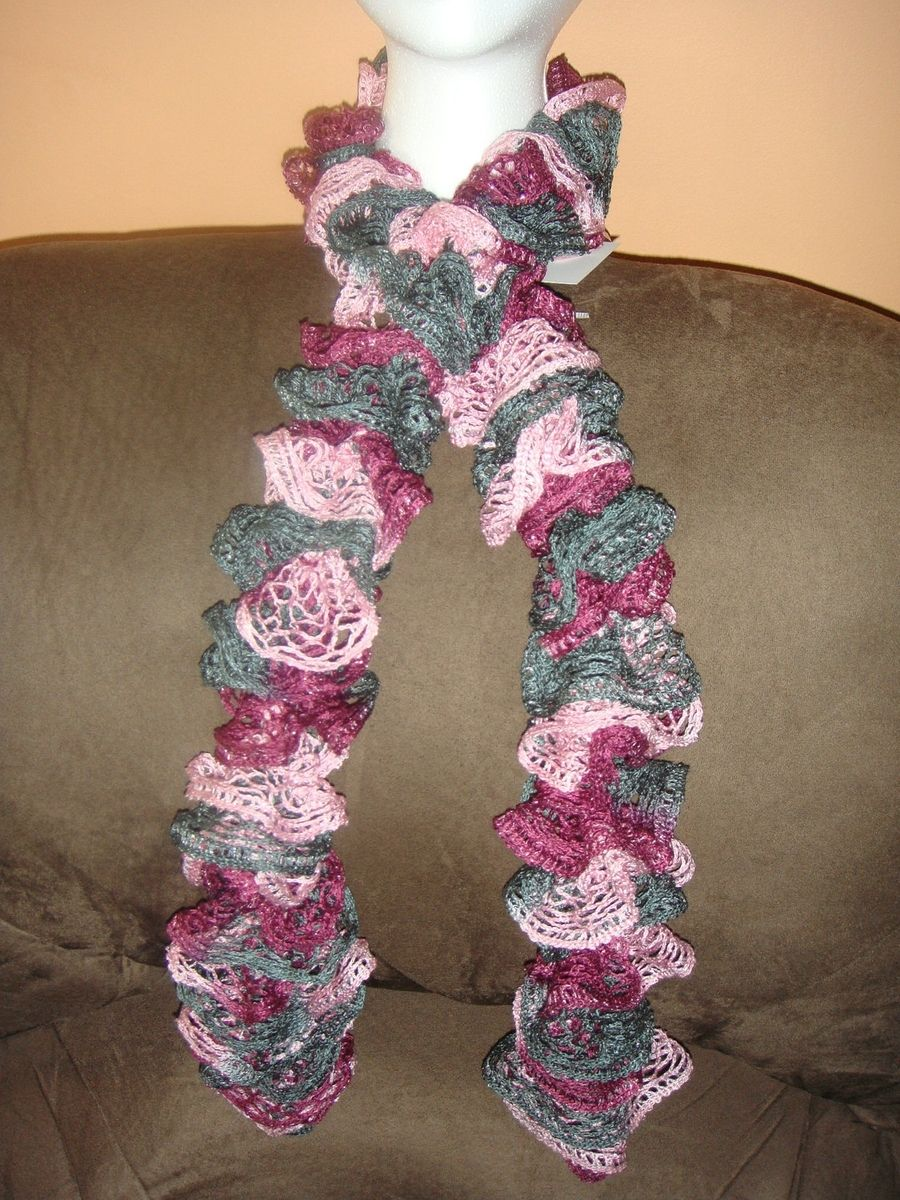 Custom Made Knitted Scarf Red Heart Sashay Yarn Ballet