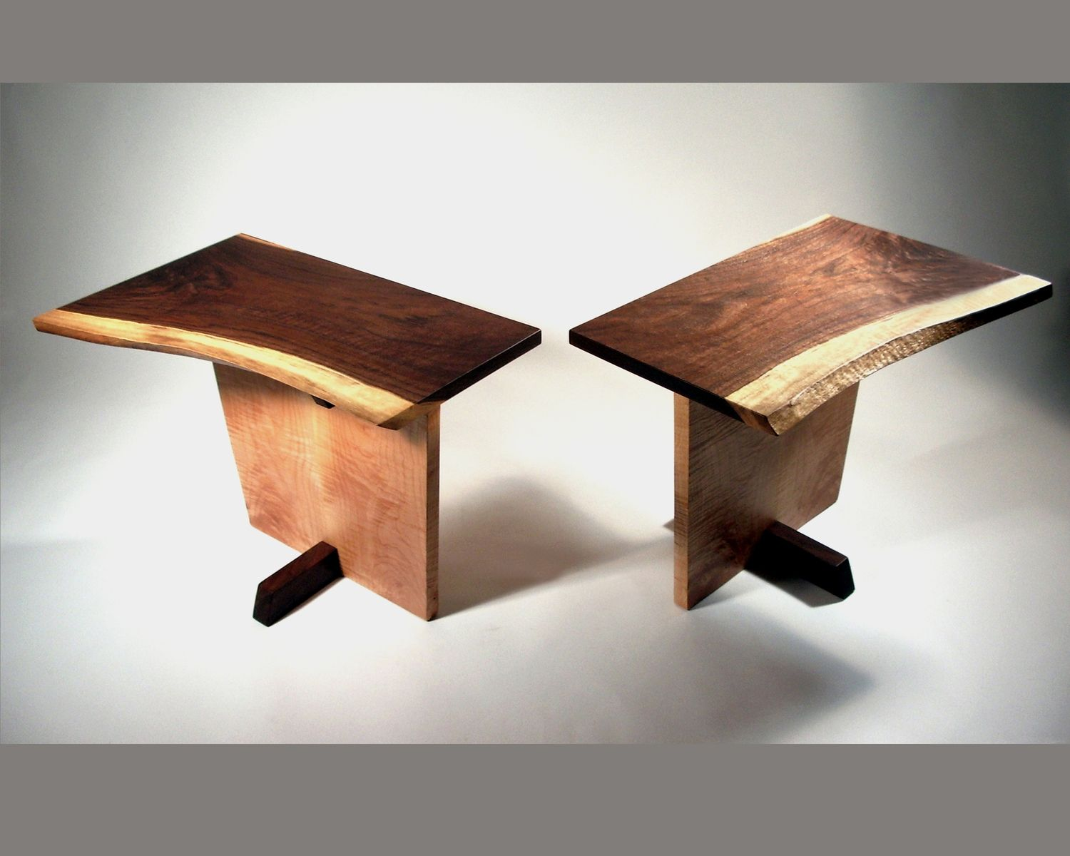 Custom Modern Mid Century End Tables Live Edge By Aaron