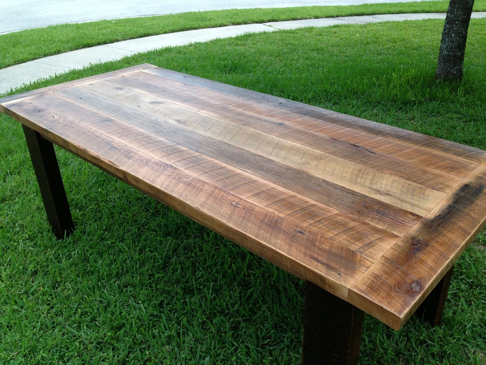 Custom reclaimed oak dining table by fama creations llc for Unique wood dining room tables