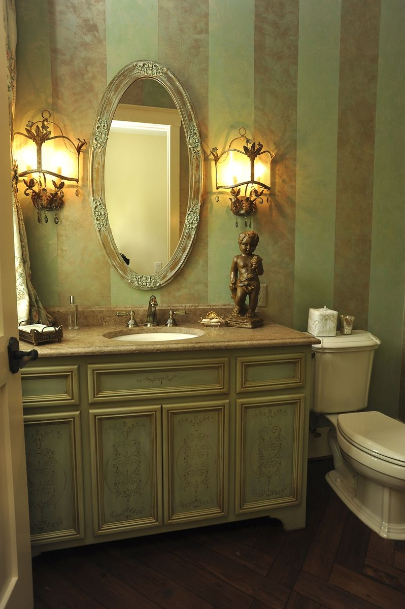 Hand crafted powder room vanity by perfect design for Bathroom decor light green