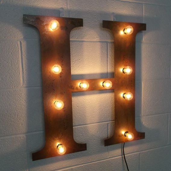 Custom Industrial Letter Wall Hanging Metal Letter Light Fixture 18 Inch Tall by West Vintage ...