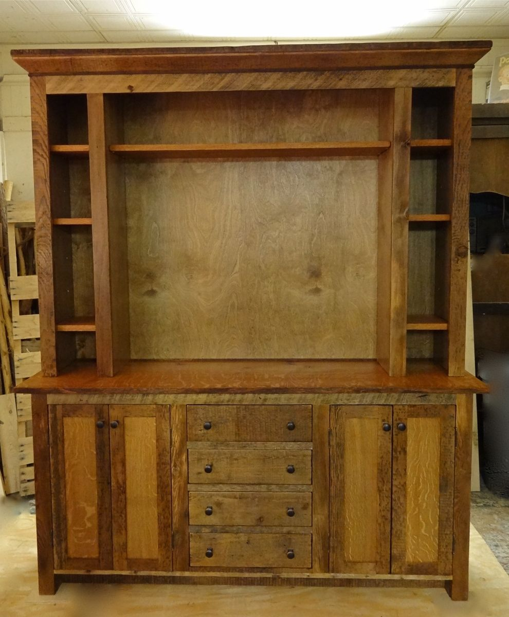 Hand made reclaimed barn wood entertainment center by custom rustic furniture by don mcaulay sr Wooden entertainment center furniture