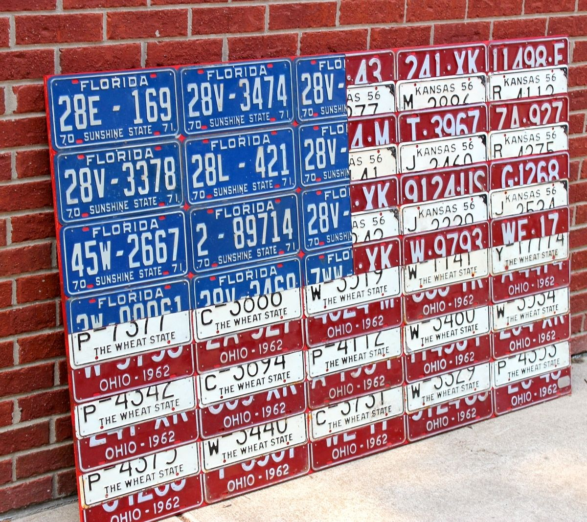 Hand Crafted License Plate Flag Of The United States By