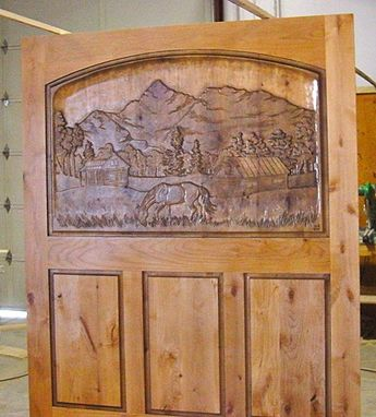 Custom Made Barn Style Carved Library Door