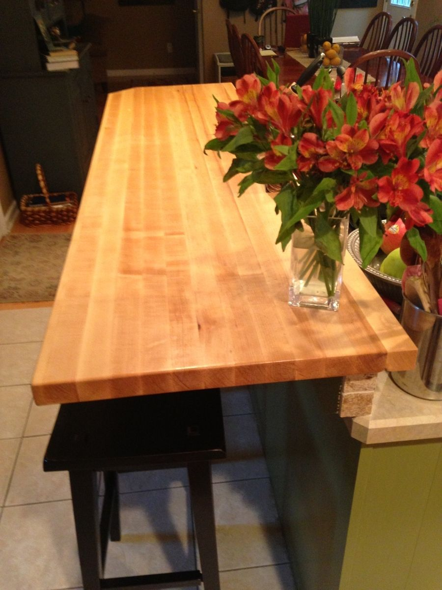 hand made maple butcher block breakfast bar by elias