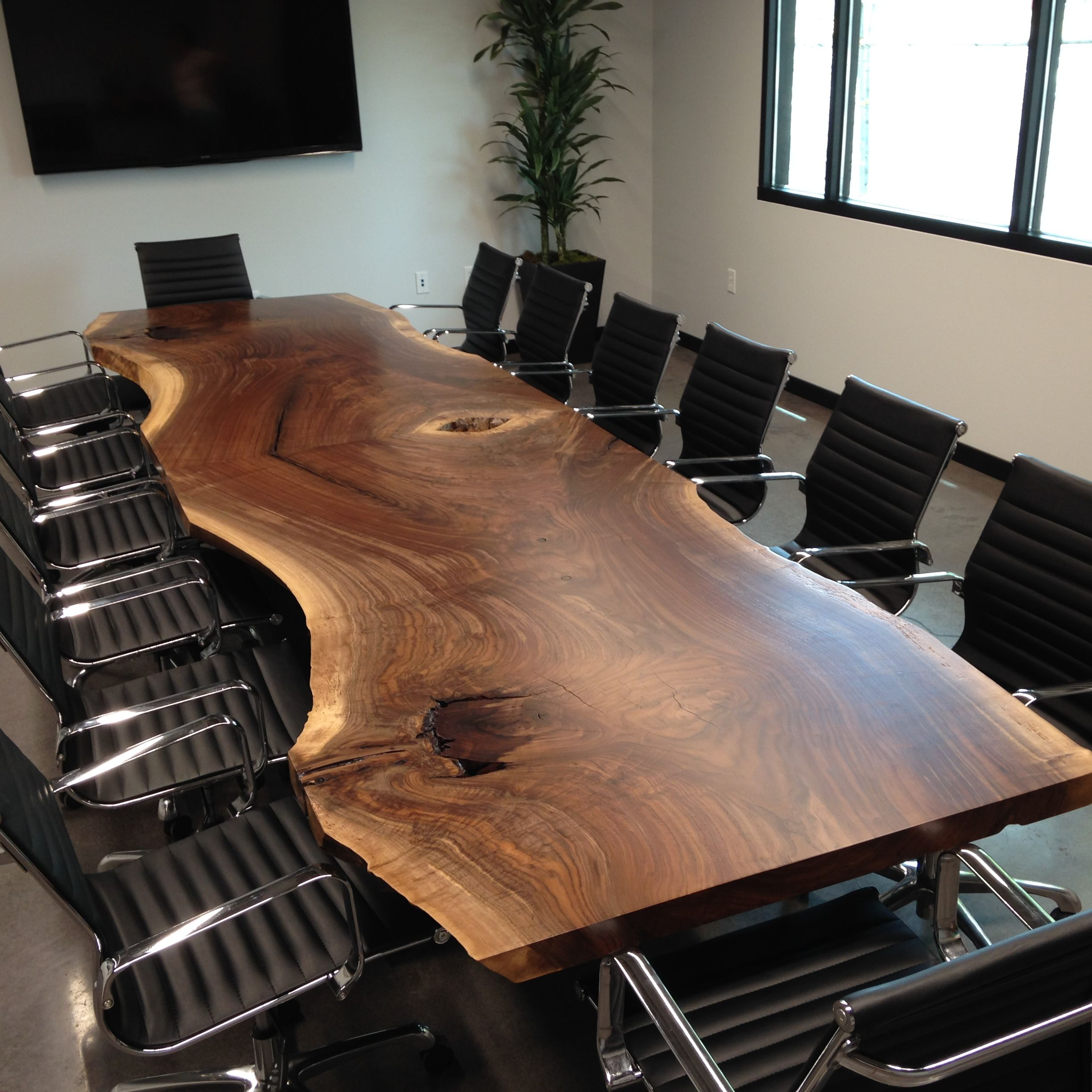 Vintage Industrial Live Edge Walnut Slab Coffee Table: Hand Made Custom Live Edge Black Walnut Conference Table