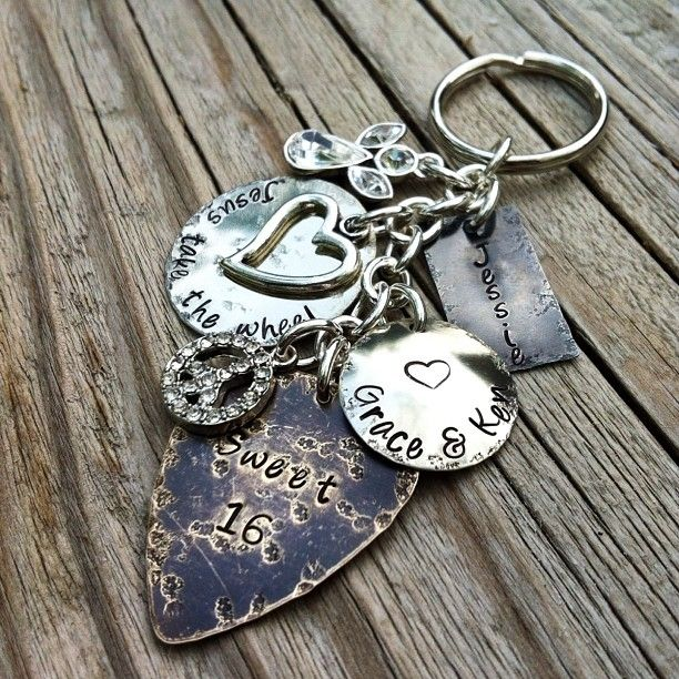 handmade hand stamped sweet  personalized keychain