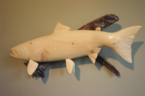 Handmade fish carving quot female sockeye salmon by mk