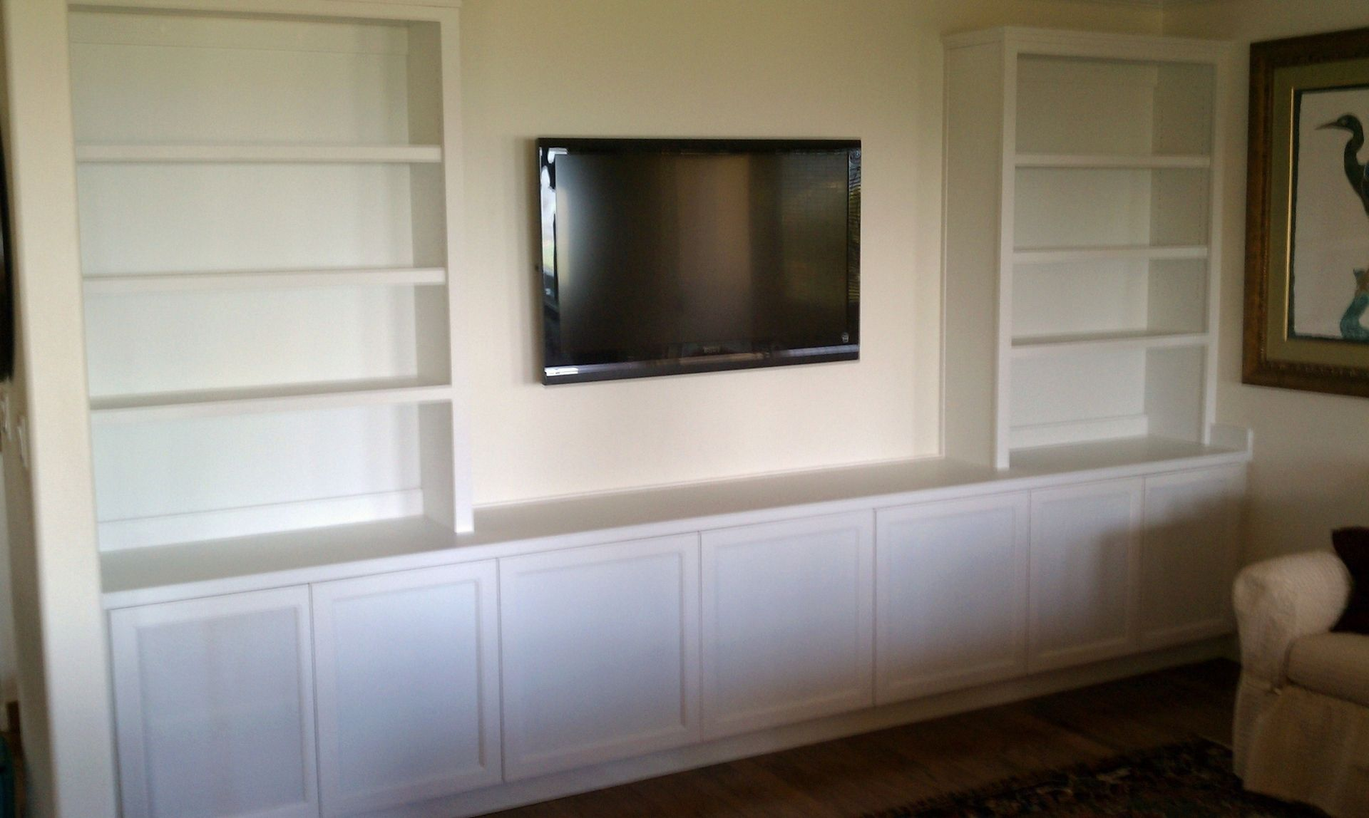 Hand made painted white media cabinet by saw tooth designs llc - Custom made cabinet ...